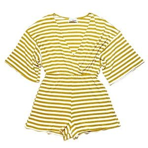 Urban Outfitters Romper Small Maize Mustard Stripe